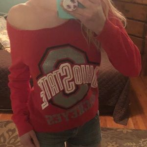 Ohio State off shoulder sweatshirt with sparkles